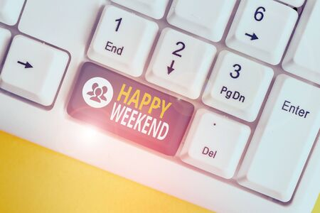 Word writing text Happy Weekend. Business photo showcasing Cheerful rest day Time of no office work Spending holidays White pc keyboard with empty note paper above white background key copy space Фото со стока