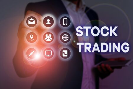 Conceptual hand writing showing Stock Trading. Concept meaning Buy and Sell of Securities Electronically on the Exchange Floor
