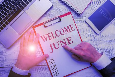 Handwriting text Welcome June. Conceptual photo Calendar Sixth Month Second Quarter Thirty days Greetings Stock fotó