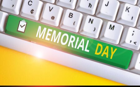 Handwriting text writing Memorial Day. Conceptual photo To honor and remembering those who died in military service White pc keyboard with empty note paper above white background key copy space