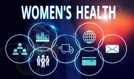 Handwriting text Women S Health. Conceptual photo Women s is physical health consequence avoiding illness Woman wear formal work suit presenting presentation using smart device
