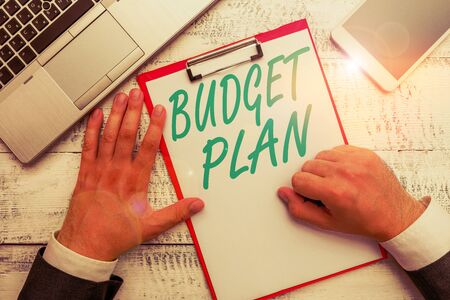 Conceptual hand writing showing Budget Plan. Concept meaning financial schedule for a defined period of time usually year