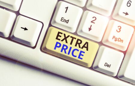 Text sign showing Extra Price. Business photo showcasing extra price definition beyond the ordinary large degree White pc keyboard with empty note paper above white background key copy space