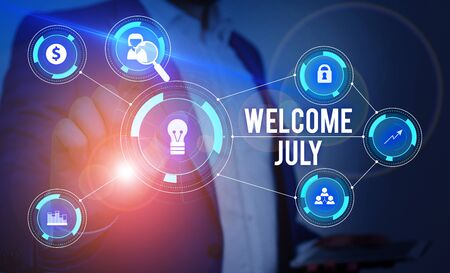 Word writing text Welcome July. Business photo showcasing Calendar Seventh Month 31days Third Quarter New Season Male human wear formal work suit presenting presentation using smart device Reklamní fotografie