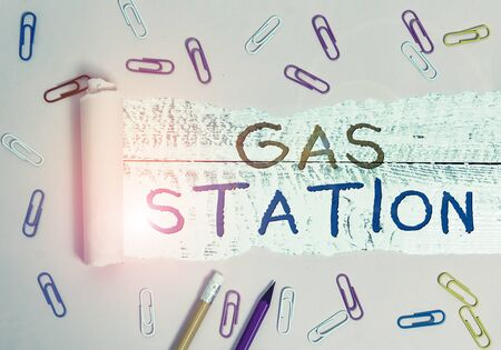 Writing note showing Gas Station. Business concept for for servicing motor vehicles especially with gasoline and oil