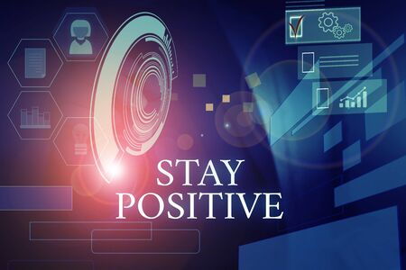 Writing note showing Stay Positive. Business concept for Engage in Uplifting Thoughts Be Optimistic and Real Male wear formal suit presenting presentation smart device