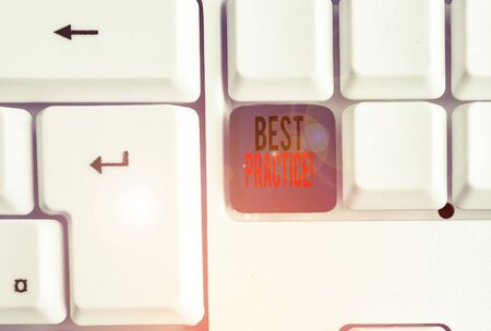 Text sign showing Best Practice. Business photo text commercial procedures that are accepted prescribed being correct White pc keyboard with empty note paper above white background key copy space