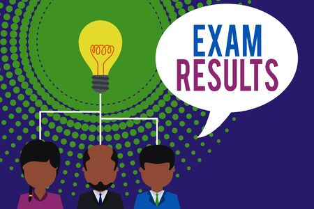Word writing text Exam Results. Business photo showcasing An outcome of a formal test that shows knowledge or ability Group three executive persons sharing idea icon. Startup team meeting