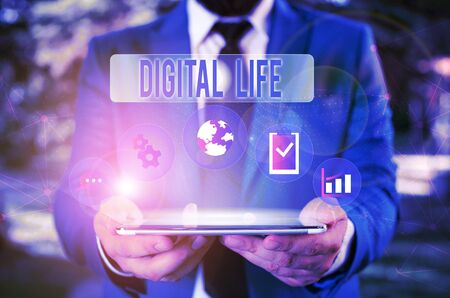 Word writing text Digital Life. Business photo showcasing Living in a world interconnected through Internet Multimedia Male human wear formal work suit presenting presentation using smart device