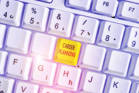 Writing note showing Career Planning. Business concept for Strategically plan your career goals and work success White pc keyboard with note paper above the white background