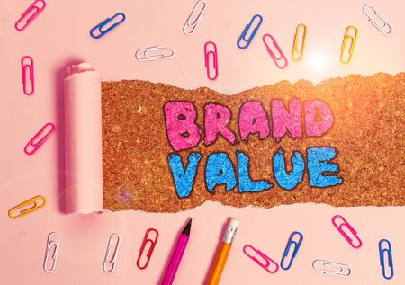 Writing note showing Brand Value. Business concept for company generates from product with recognizable for its names Banco de Imagens