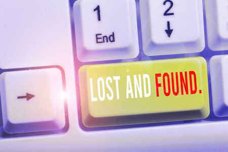 Writing note showing Lost And Found. Business concept for a place where lost items are stored until they reclaimed White pc keyboard with note paper above the white background