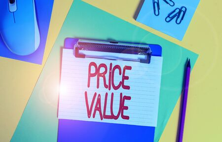 Word writing text Price Value. Business photo showcasing strategy which sets cost primarily but not exclusively Clipboard striped sheets marker clips notepad mouse colored background Stock fotó
