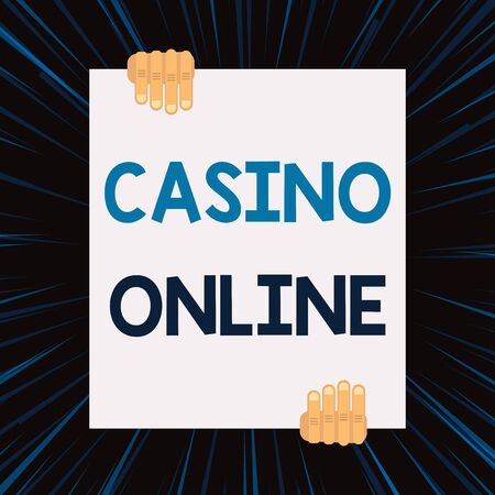 Handwriting text writing Casino Online. Conceptual photo Computer Poker Game Gamble Royal Bet Lotto High Stakes Two hands holding big blank rectangle up down Geometrical background design 스톡 콘텐츠
