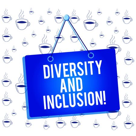 Writing note showing Diversity And Inclusion. Business concept for range huanalysis difference includes race ethnicity gender Memo reminder empty board attached background rectangle Stock Photo