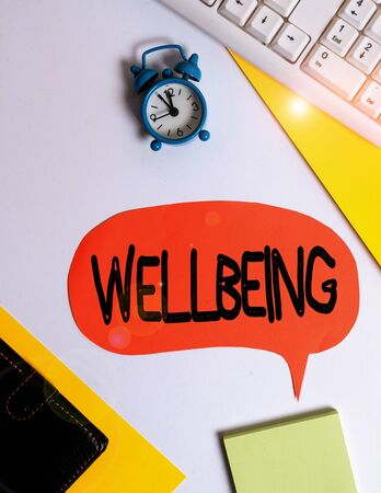 Word writing text Wellbeing. Business photo showcasing A good or satisfactory condition of existence including health Flat lay with copy space on bubble paper clock and paper clips