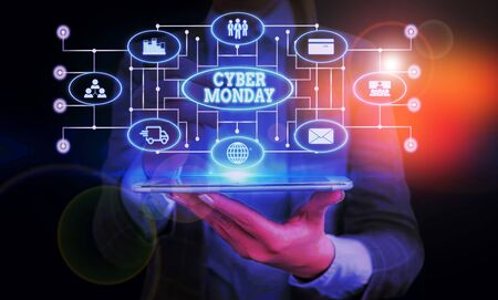 Conceptual hand writing showing Cyber Monday. Concept meaning Marketing term for Monday after thanksgiving holiday in the US Woman wear work suit presenting presentation smart device Stockfoto
