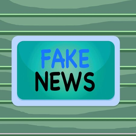 Conceptual hand writing showing Fake News. Concept meaning Giving information to showing that is not true by the media Board rectangle white frame empty fixed color surface plank 版權商用圖片