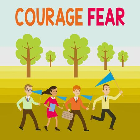 Word writing text Courage Fear. Business photo showcasing quality of mind that enables a demonstrating to face difficulty People Crowd Flags Pennants Headed by Leader Running Demonstration Meeting 스톡 콘텐츠