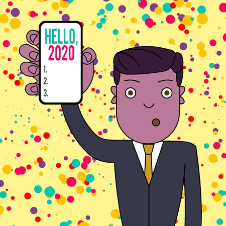 Text sign showing Hello 2020. Business photo showcasing expression or gesture of greeting answering the telephone Man Holding Vertically Smartphone Device with Blank Screen for Attention Stock Photo