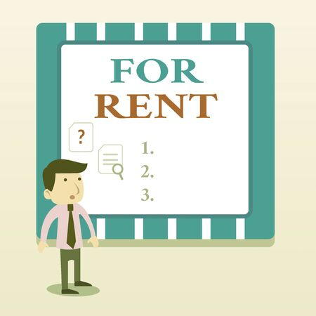 Word writing text For Rent. Business photo showcasing when you make property available for purchasing temporarily Young Male Businessman Office Worker Standing Searching Problem Solution Stockfoto