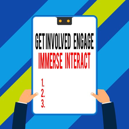 Word writing text Get Involved Engage Immerse Interact. Business photo showcasing Join Connect Participate in the project Two executive male hands holding electronic device geometrical background