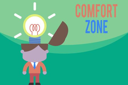 Text sign showing Comfort Zone. Business photo text place or situation where one feels safe and without stress Standing successful man suit necktie surging brilliant innovative solutions