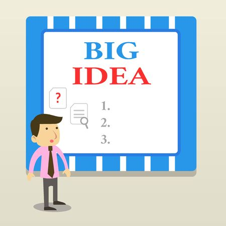 Word writing text Big Idea. Business photo showcasing Having great creative innovation solution or way of thinking Young Male Businessman Office Worker Standing Searching Problem Solution