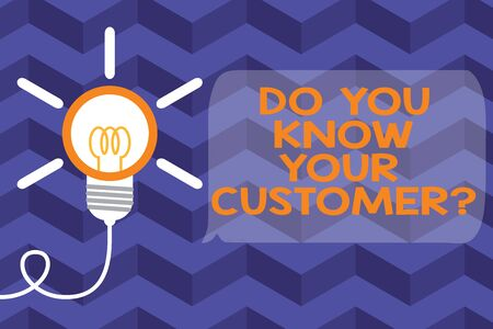 Text sign showing Do You Know Your Customer Question. Business photo text Have into account client likes opinion Big idea light bulb. Successful turning idea invention innovation. Startup