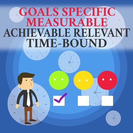 Text sign showing Goals Specif Measureable AC. Business photo showcasing Goals Specific Measurable Achievable Relevant Time Bound White Male Questionnaire Survey Choice Checklist Satisfaction Green Ti