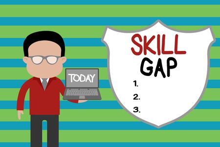 Conceptual hand writing showing Skill Gap. Concept meaning Refering to a demonstrating s is weakness or limitation of knowlege Man in suit wearing eyeglasses holding open laptop photo Art Imagens