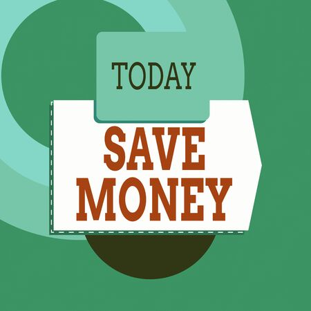 Text sign showing Save Money. Business photo text store some of your cash every month to use them sometime later Blank banner rectangle square above semicircle down Geometrical background