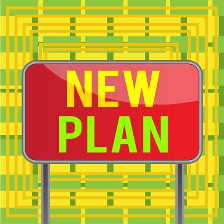Text sign showing New Plan. Business photo showcasing Start of a detailed proposal of doing or achieving something Board ground metallic pole empty panel plank colorful backgound attached