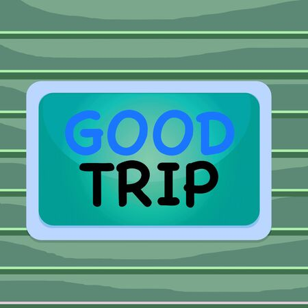 Conceptual hand writing showing Good Trip. Concept meaning A journey or voyage,run by boat,train,bus,or any kind of vehicle Board rectangle white frame empty fixed color surface plank Banco de Imagens