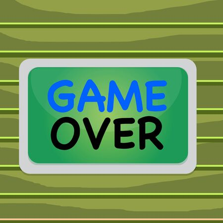 Conceptual hand writing showing Game Over. Concept meaning A situation in a particular sport that reach his finals or ending Board rectangle white frame empty fixed color surface plank 스톡 콘텐츠