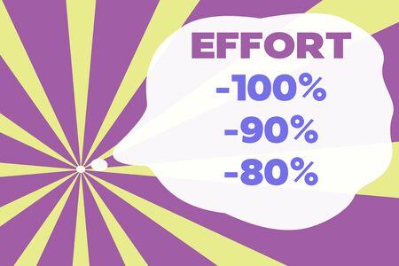 Text sign showing Effort 100 Percent 90 Percent 80 Percent. Business photo text Level of determination discipline motivation Abstract geometric deep design. Simulating depth background. Futuristic