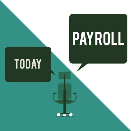 Text sign showing Payroll. Business photo text Amount of wages and salaries paid by a company to its employees Executive chair sharing two blank square speech bubbles right left side Stock Photo
