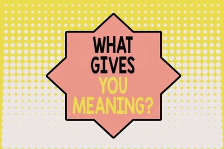 Writing note showing What Gives You Meaning Question. Business concept for your purpose or intentions in life Vanishing dots middle background design. Gradient Pattern. Futuristic