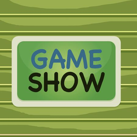 Conceptual hand writing showing Game Show. Concept meaning Program in television or radio with players that win prizes Board rectangle white frame empty fixed color surface plank