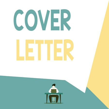 Handwriting text Cover Letter. Conceptual photo document explaining the applicant s is credentials and interest View young man sitting chair desk working open laptop geometric background