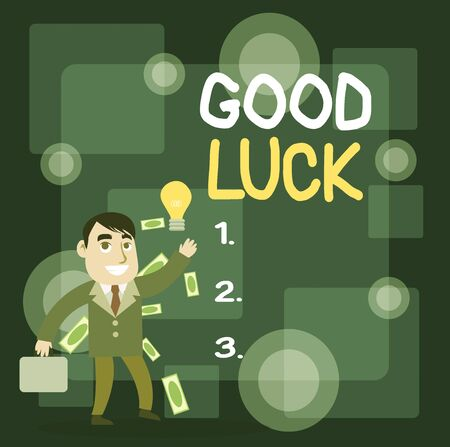 Writing note showing Good Luck. Business concept for A positive fortune or a happy outcome that a demonstrating can have Successful Businessman Generating Idea or Finding Solution Imagens