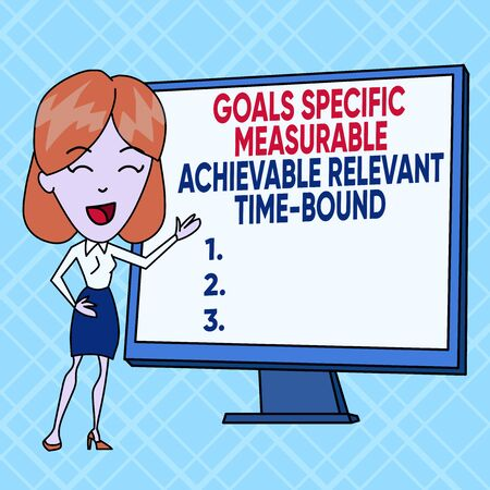Text sign showing Goals Specif Measureable AC. Business photo text Goals Specific Measurable Achievable Relevant Time Bound White Female in Standing Pointing Blank Screen Whiteboard Presentation
