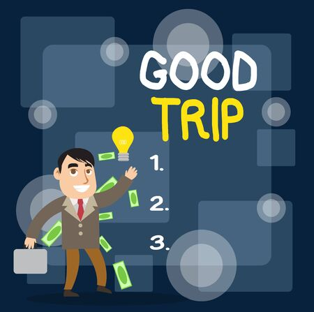 Writing note showing Good Trip. Business concept for A journey or voyage,run by boat,train,bus,or any kind of vehicle Successful Businessman Generating Idea or Finding Solution Banco de Imagens