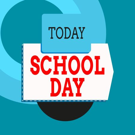 Text sign showing School Day. Business photo text starts from seven or eight am to three pm get taught there Blank banner rectangle square above semicircle down Geometrical background 写真素材 - 131939856