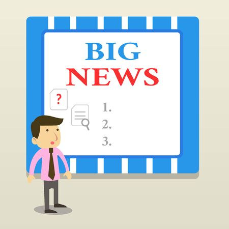 Word writing text Big News. Business photo showcasing knowing actions no one heard about it yet Teleporter journalist Young Male Businessman Office Worker Standing Searching Problem Solution