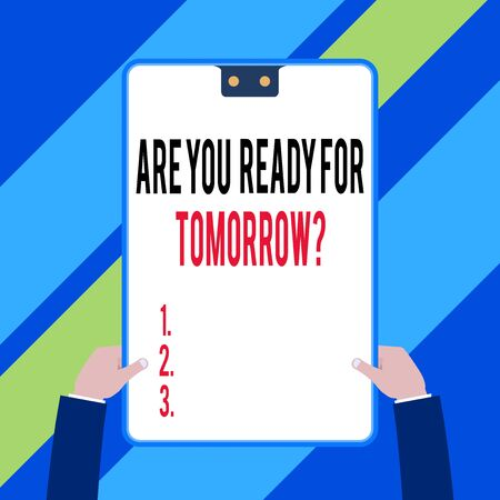 Word writing text Are You Ready For Tomorrow Question. Business photo showcasing Preparation to the future Motivation Two executive male hands holding electronic device geometrical background 스톡 콘텐츠