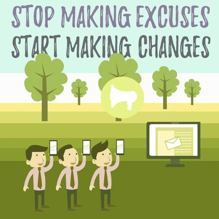 Writing note showing Stop Making Excuses Start Making Changes. Business concept for Do not give an excuse Act instead SMS Email Marketing Media Audience Attraction PC Loudspeaker