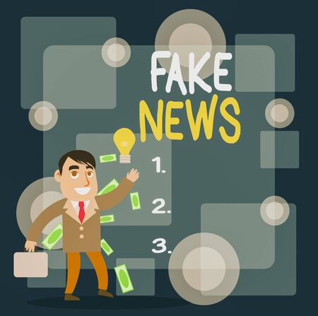 Writing note showing Fake News. Business concept for Giving information to showing that is not true by the media Successful Businessman Generating Idea or Finding Solution