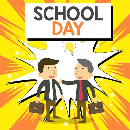 Conceptual hand writing showing School Day. Concept meaning starts from seven or eight am to three pm get taught there Businessmen Colleagues with Brief Case Sharing Idea Solution Banco de Imagens