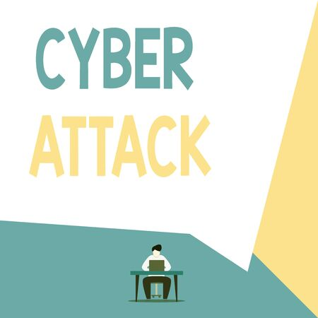 Handwriting text Cyber Attack. Conceptual photo attempt by hackers to damage or destroy a computer network View young man sitting chair desk working open laptop geometric background
